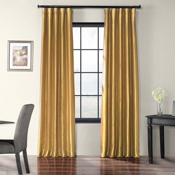Gold Faux Silk Curtains | Wayfair With Ofloral Embroidered Faux Silk Window Curtain Panels (View 20 of 50)