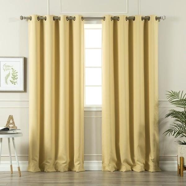 Gold Grommet Blackout Curtains – Renover Appartement With Easton Thermal Woven Blackout Grommet Top Curtain Panel Pairs (#29 of 44)