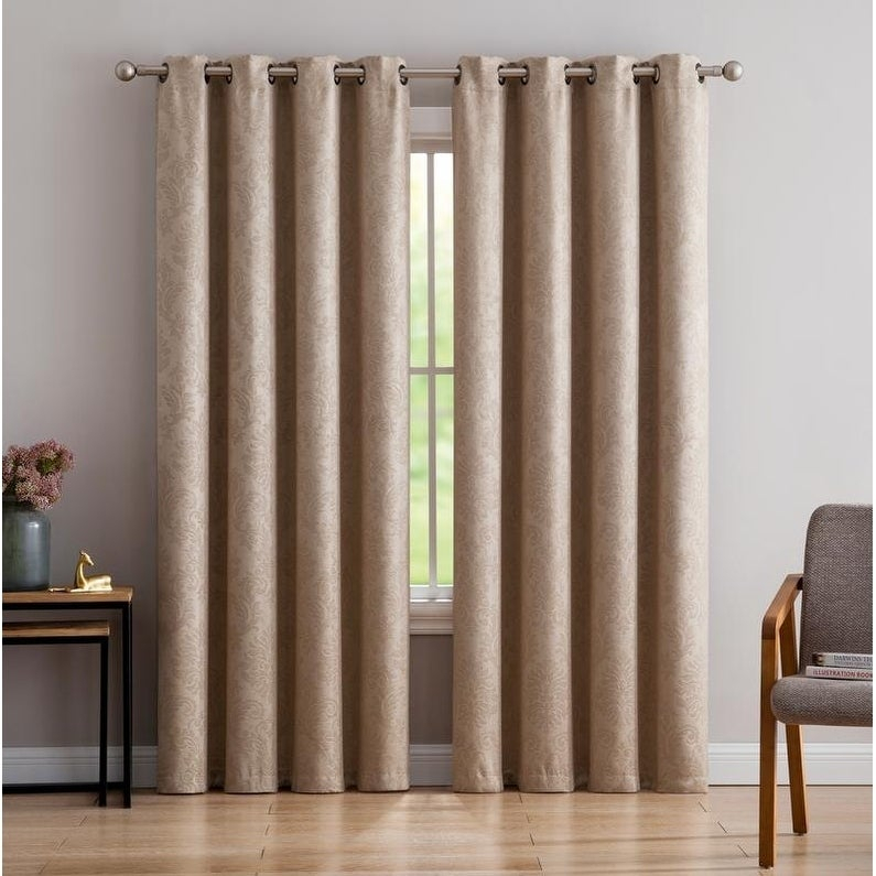 Gracewood Hollow Plakalo Embossed Thermal Weaved Blackout Grommet Drapery  Curtains With Regard To Gracewood Hollow Tucakovic Energy Efficient Fabric Blackout Curtains (View 11 of 31)