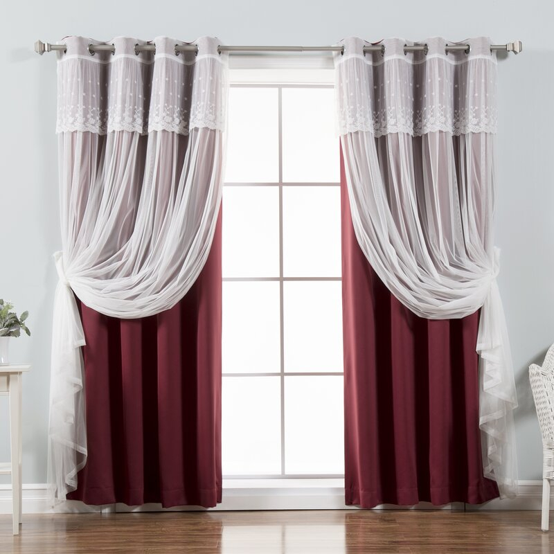 Granados Tulle Solid Blackout Thermal Grommet Curtain Panels Regarding Mix & Match Blackout Tulle Lace Bronze Grommet Curtain Panel Sets (View 21 of 50)