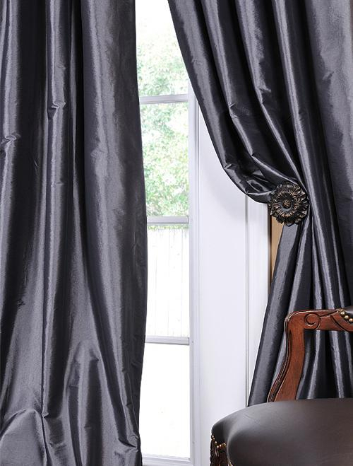 Graphite Faux Solid Taffeta Silk Drapes & Curtain Panels With Solid Faux Silk Taffeta Graphite Single Curtain Panels (View 7 of 50)