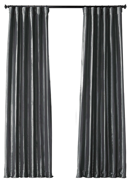 "Graphite Fauxsilk Taffeta Curtain Single Panel, 50""x108"" In Solid Faux Silk Taffeta Graphite Single Curtain Panels (View 12 of 50)"