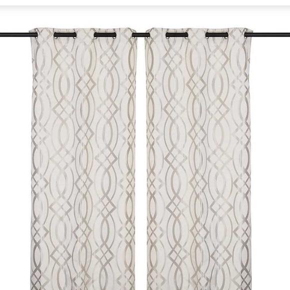 "Gray Avalon Trellis Print Curtain Panel Set 108"" Nwt Regarding Grey Printed Curtain Panels (View 19 of 48)"