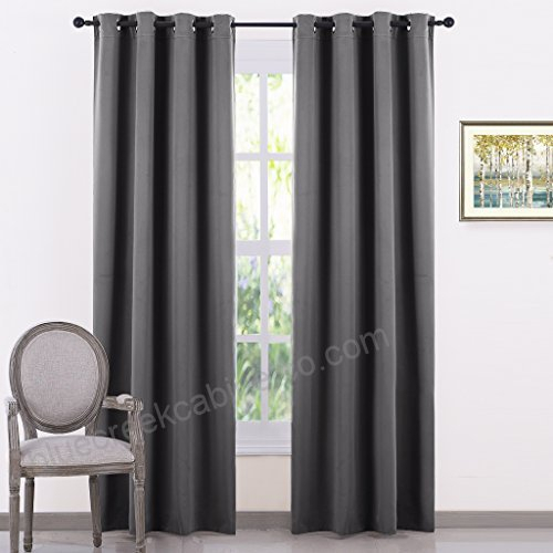 Gray Blackout Curtains Panel Set – Solid Thermal Insulated In Thermal Insulated Blackout Grommet Top Curtain Panel Pairs (#21 of 50)