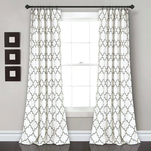 Gray Curtain Panels Geometric Blackout Thermal Grommet Blue Within Geometric Linen Room Darkening Window Curtains (View 27 of 50)