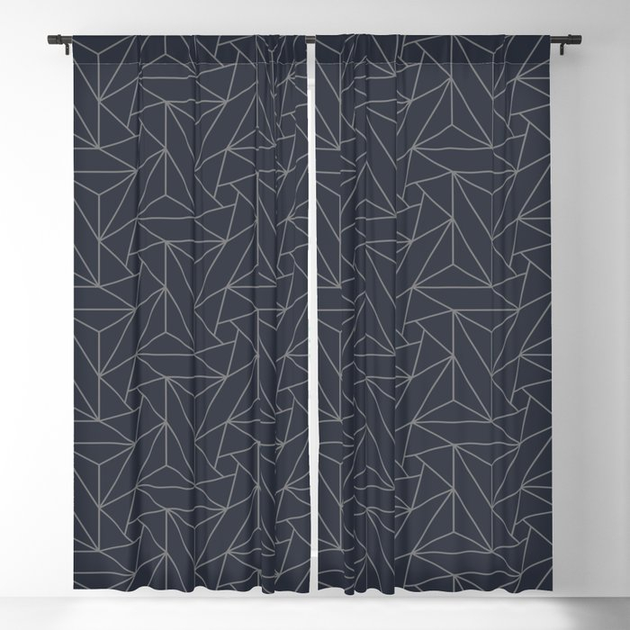 Gray & Dark Blue Abstract Triangle Geometric Mosaic Shape Pattern Pairs To  2020 Color Of The Year Blackout Curtainpipafineart Inside Abstract Blackout Curtain Panel Pairs (View 22 of 46)