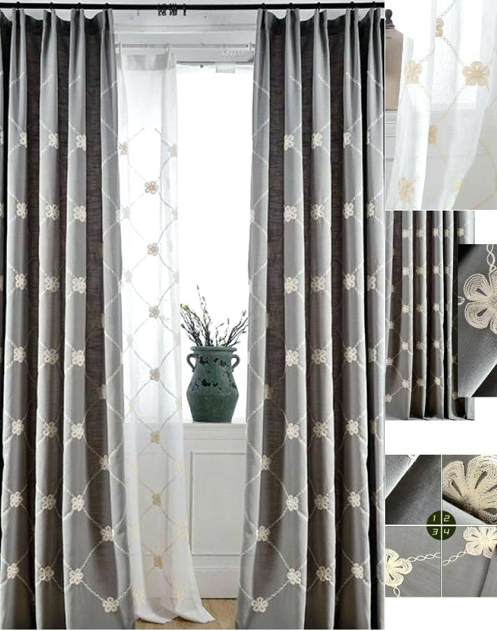 Gray Floral Curtains – Dailythanthi Throughout Overseas Leaf Swirl Embroidered Curtain Panel Pairs (View 42 of 50)