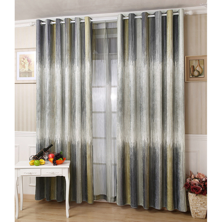 Gray Striped Chenille Thermal Modern Ombre Curtain Panels Inside Ombre Embroidery Curtain Panels (View 22 of 50)