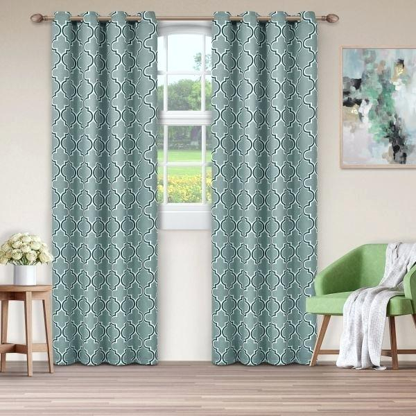 Green Trellis Curtain Panels – Garettgroves Regarding Overseas Faux Silk Blackout Curtain Panel Pairs (#23 of 41)