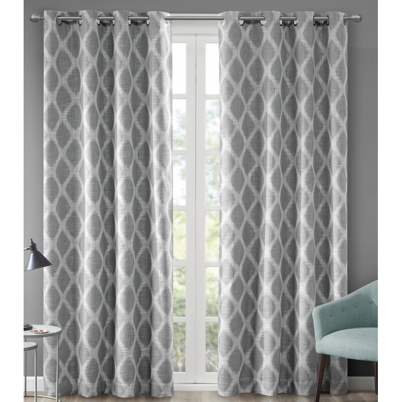 Grey Curtains 90×90 | Flisol Home For Sugar Creek Grommet Top Loha Linen Window Curtain Panel Pairs (View 33 of 50)