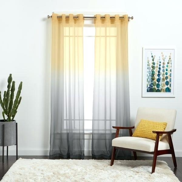 Grey Curtains Curtain Velvet Sheer Ombre Panels Pertaining To Ombre Faux Linen Semi Sheer Curtains (#21 of 50)