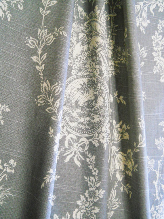 Grey Drapery Drapes French Panels Floral Toile Curtains Custom Window Rod  Pocket Gray, Country Farmhouse Dining Room Waverly Curtain Panel In French Linen Lined Curtain Panels (#21 of 50)
