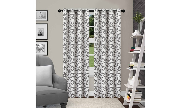 Grey Leaves Insulated Thermal Blackout Grommet Curtain Panel Within Twig Insulated Blackout Curtain Panel Pairs With Grommet Top (#26 of 50)