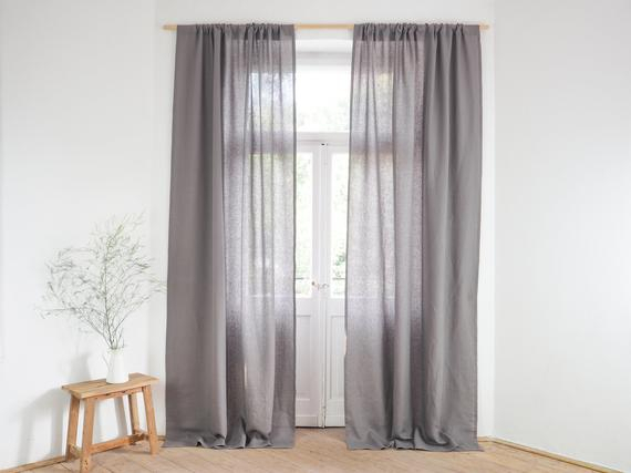 Grey Linen Curtain Panel (View 13 of 34)