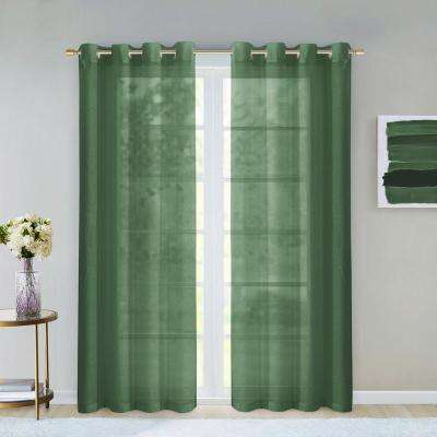 Grommet – Sage – Sheer – Curtains & Drapes – Window Within Wavy Leaves Embroidered Sheer Extra Wide Grommet Curtain Panels (#24 of 50)