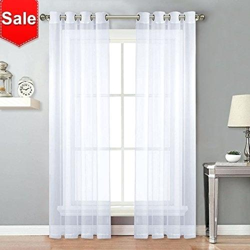 Grommet Sheer Curtain Panels Crushed Geometric White In Delano Indoor/outdoor Grommet Top Curtain Panel Pairs (View 34 of 45)