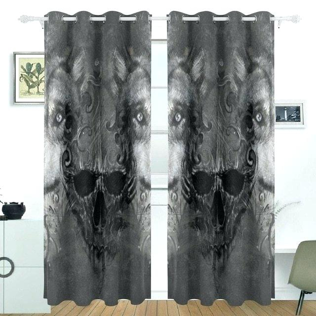 Grommet Top Curtains For Sliding Glass Doors Skull Wolf Within Grommet Blackout Patio Door Window Curtain Panels (View 8 of 50)