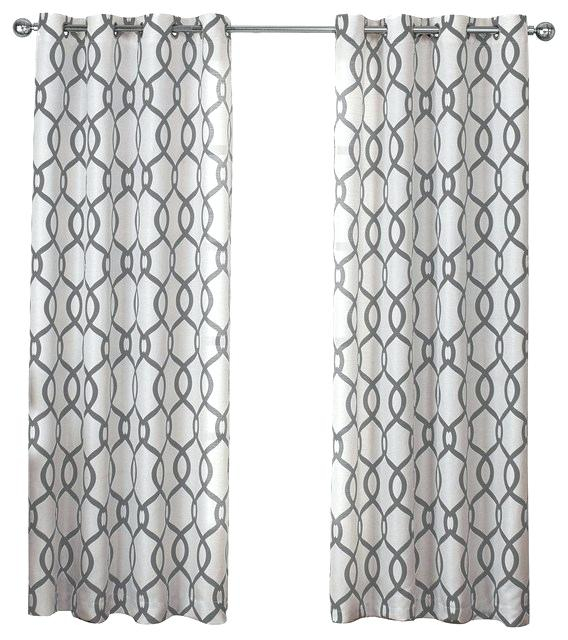 Grommet Top Window Curtain Panels Set Of 2 Pair Black Pearl For Forest Hill Woven Blackout Grommet Top Curtain Panel Pairs (#28 of 45)
