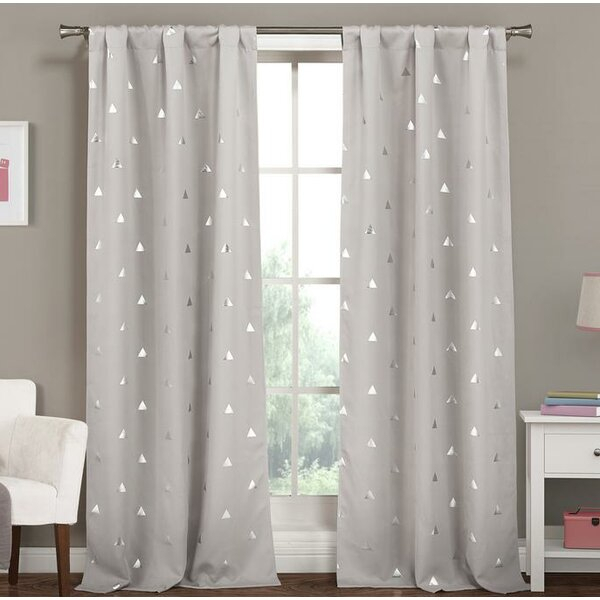 Groton Printed Triangles Blackout Thermal Rod Pocket Panel Pair Intended For Thermal Rod Pocket Blackout Curtain Panel Pairs (#31 of 50)