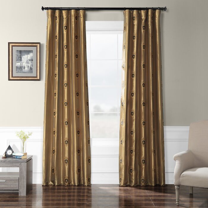 Grovetown Faux Silk Taffeta Damask Room Darkening Rod Pocket Single Curtain Panel For Ofloral Embroidered Faux Silk Window Curtain Panels (View 9 of 50)