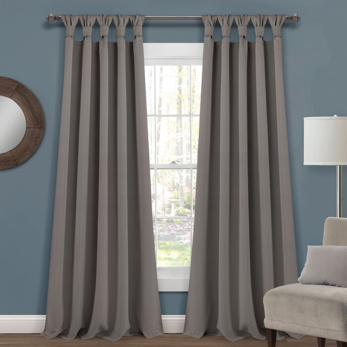 Guthridge Knotted Tab Top Solid Color Thermal Blackout Panel Pair Within Knotted Tab Top Window Curtain Panel Pairs (#14 of 50)