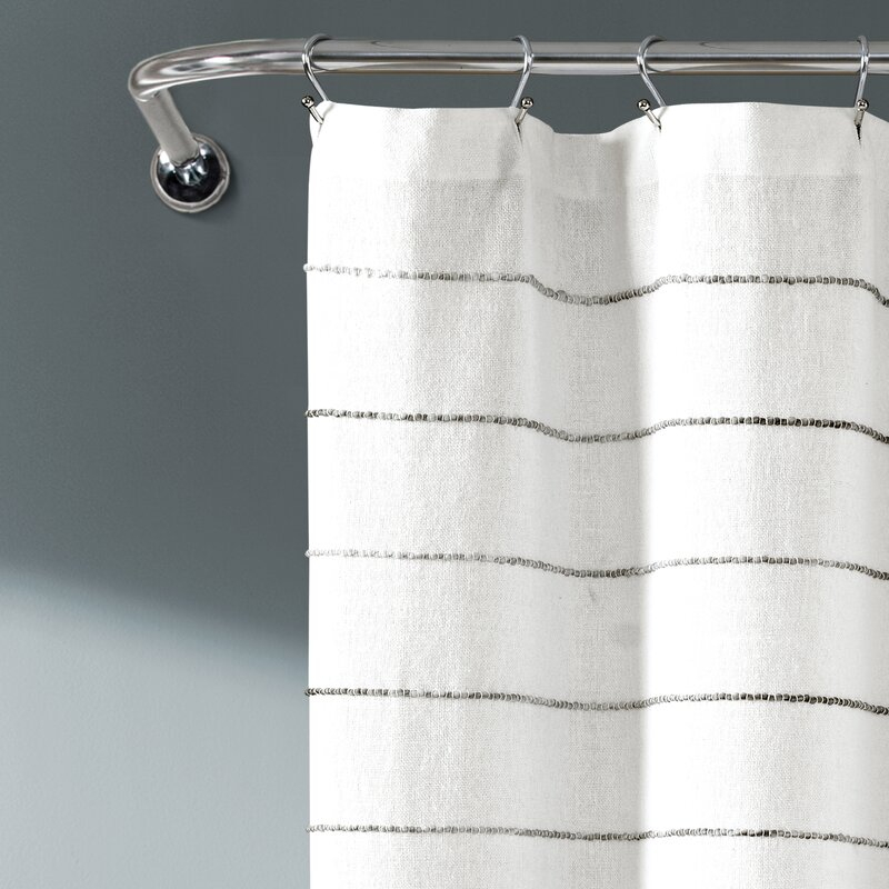 Gutman Stripe Yarn Dyed Shower Curtain Single In Ombre Stripe Yarn Dyed Cotton Window Curtain Panel Pairs (View 27 of 31)