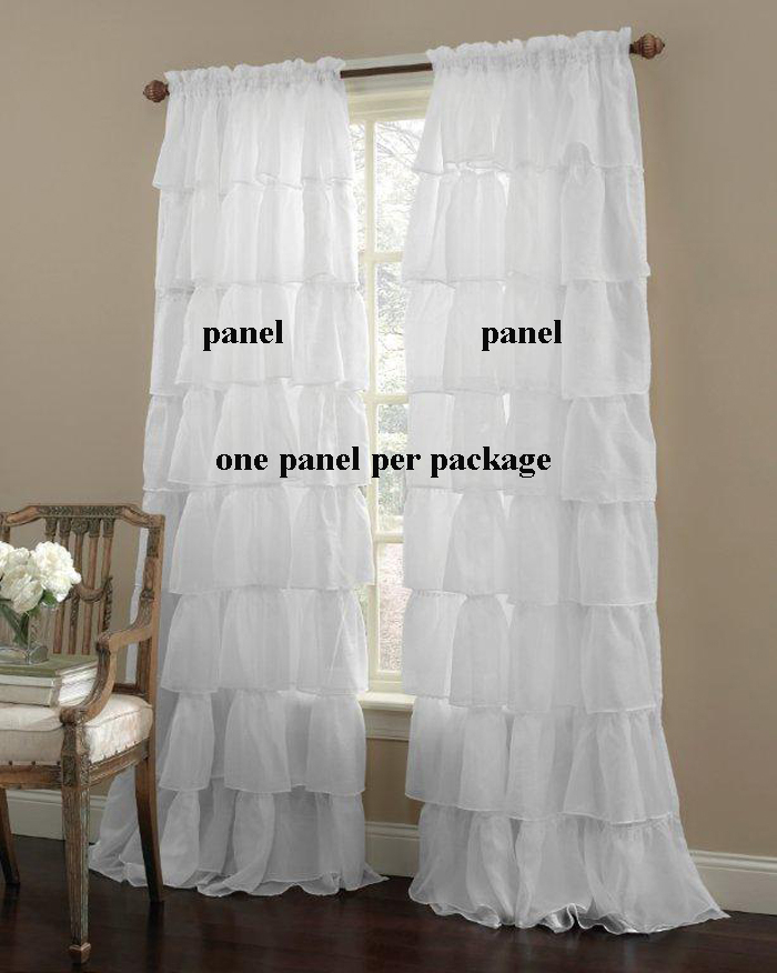Gypsy Layered Ruffled Voile Rod Pocket Curtain Panel Intended For Sheer Voile Ruffled Tier Window Curtain Panels (View 24 of 50)