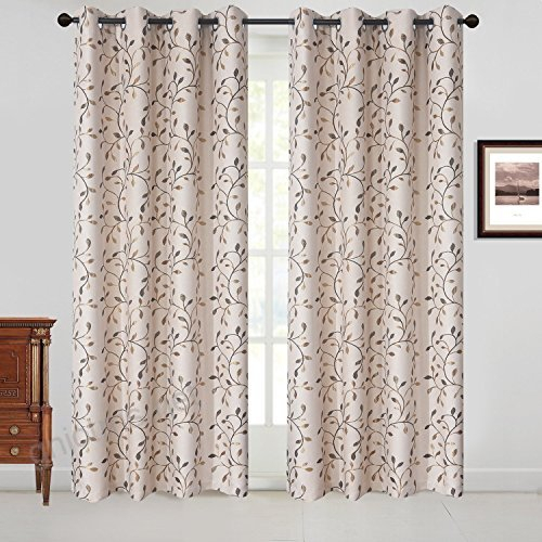 Gyrohome Floral Blackout Curtain Grommet Top Thermal Intended For Thermal Insulated Blackout Grommet Top Curtain Panel Pairs (#24 of 50)