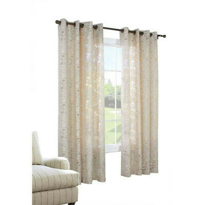 Habitat Charlotte A Floral Burnout Grommet Top Window Panel, Taupe | Ebay Intended For Wilshire Burnout Grommet Top Curtain Panel Pairs (#30 of 45)