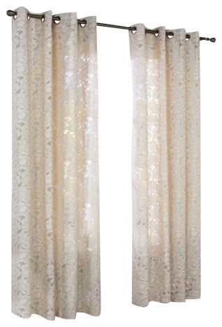Habitat Charlotte A Floral Burnout Grommet Top Window Panel Taupe Throughout Caldwell Curtain Panel Pairs (View 4 of 27)