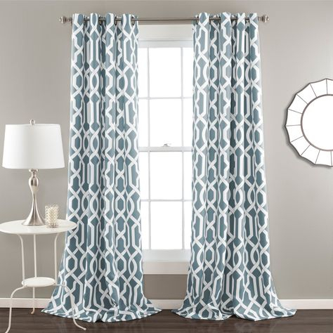 Half Moon Edward Window Curtain Set Blue | Products | Room For Primebeau Geometric Pattern Blackout Curtain Pairs (#22 of 38)