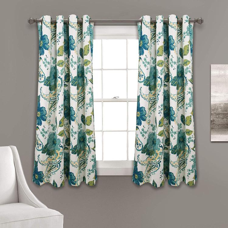 Half Moon Floral Paisley Room Darkening Window Curtain Panels Blue 52X63 Set Within Leah Room Darkening Curtain Panel Pairs (#11 of 50)