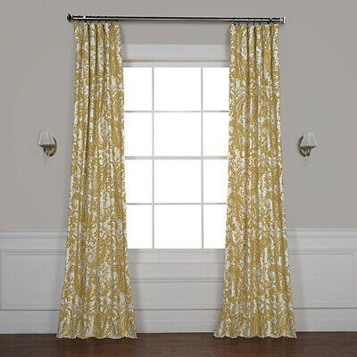 Half Price Drapes Edina Yellow 120 X 50 Inch Printed Cotton In Mecca Printed Cotton Single Curtain Panels (View 25 of 50)