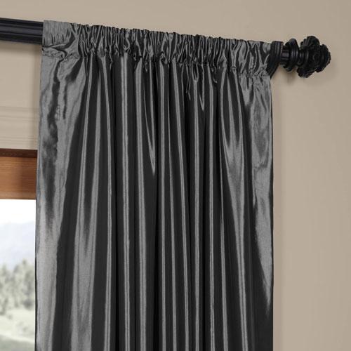 Half Price Drapes Graphite Faux Silk Taffeta Single Panel Curtain, 50 X 120 Within Solid Faux Silk Taffeta Graphite Single Curtain Panels (View 44 of 50)
