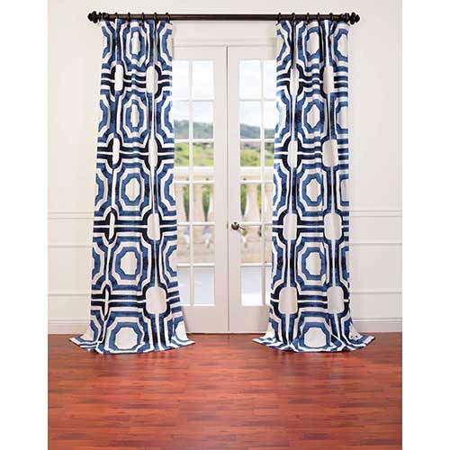 Half Price Drapes Mecca Blue 108 X 50 Inch Curtain Single Panel With Mecca Printed Cotton Single Curtain Panels (View 4 of 50)