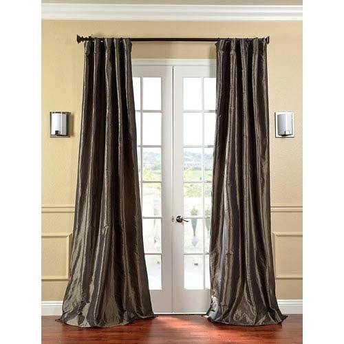 Half Price Drapes Mushroom Faux Silk Taffeta Single Panel With Faux Silk Taffeta Solid Blackout Single Curtain Panels (View 28 of 50)