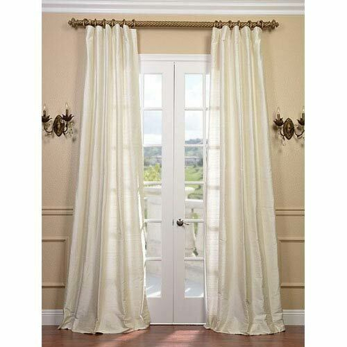 Half Price Drapes Pearl Textured Dupioni Silk Single Panel Curtain, 50 X 120 Inside Vintage Textured Faux Dupioni Silk Curtain Panels (#38 of 50)