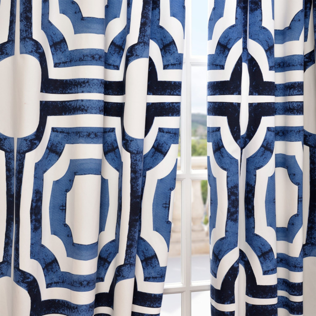 Half Price Drapes Prtw D23B 96 Mecca Printed Cotton Curtain, 50 X 96, Blue Inside Mecca Printed Cotton Single Curtain Panels (View 30 of 50)