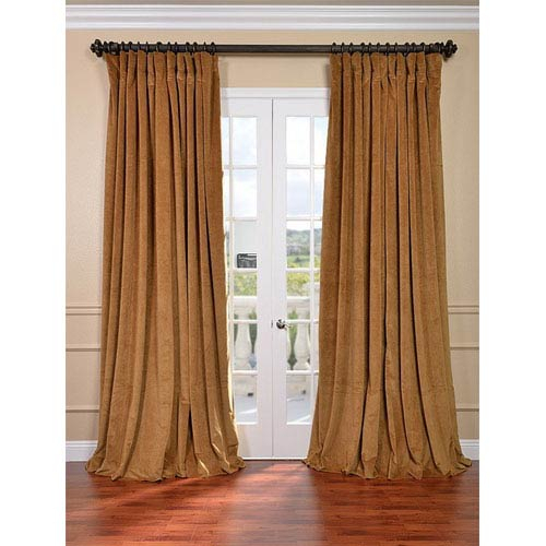 Half Price Drapes Signature Amber Gold Double Wide Velvet Blackout Pole  Pocket Single Panel Curtain, 100 X 84 Within Signature Ivory Velvet Blackout Single Curtain Panels (#14 of 50)