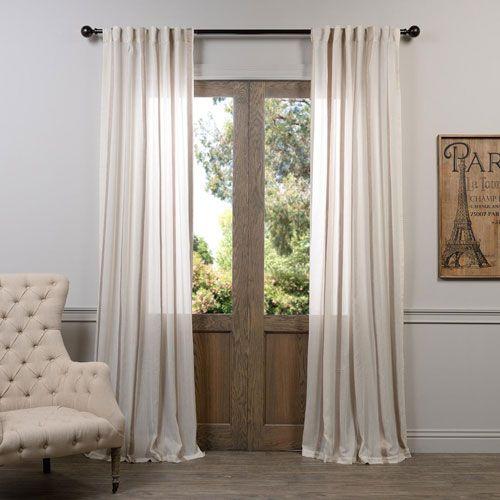Half Price Drapes Signature Birch French Linen Sheer Single Pertaining To Signature French Linen Curtain Panels (#21 of 50)