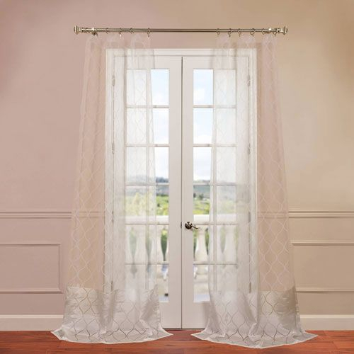 Half Price Drapes Signature Double Layered White 100 X 96 For Signature White Double Layer Sheer Curtain Panels (View 7 of 50)