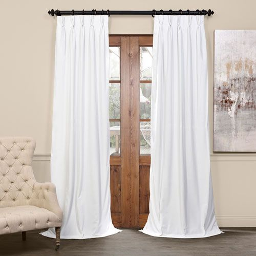 Half Price Drapes Signature Off White 25 X 108 Inch Pertaining To Signature Pinch Pleated Blackout Solid Velvet Curtain Panels (View 2 of 50)