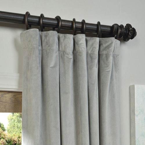 Half Price Drapes Signature Silver Grey Blackout Velvet Pole Pocket Single  Panel Curtain, 50 X 108 In Signature Blackout Velvet Curtains (#16 of 50)