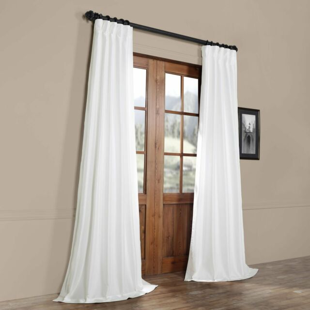 Half Price Drapes White Faux Silk Taffeta Single Panel Curtain, 50 X 108 For Solid Faux Silk Taffeta Graphite Single Curtain Panels (View 6 of 50)