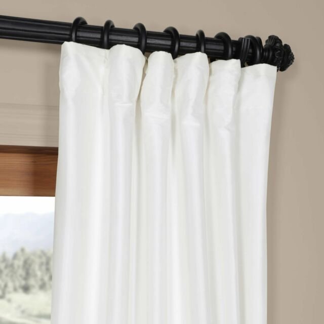 Half Price Drapes White Faux Silk Taffeta Single Panel Curtain, 50 X 108 Throughout Solid Faux Silk Taffeta Graphite Single Curtain Panels (#23 of 50)