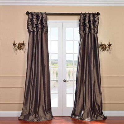 Hallman Ruched Faux Silk Taffeta Thermal Rod Pocket Single Curtain Panel |  Ebay Regarding Faux Silk Taffeta Solid Blackout Single Curtain Panels (View 33 of 50)