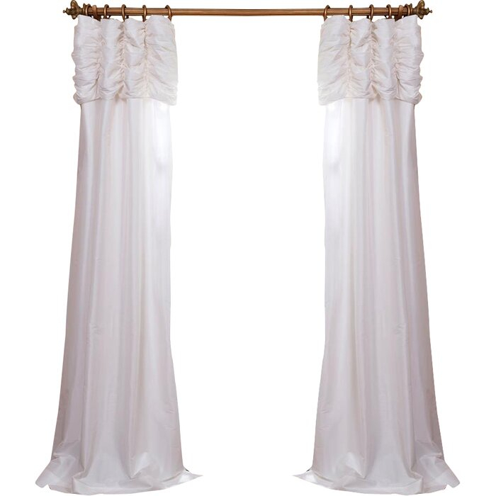 Hallman Ruched Faux Silk Taffeta Thermal Rod Pocket Single Curtain Panel With Regard To Faux Silk Taffeta Solid Blackout Single Curtain Panels (View 32 of 50)