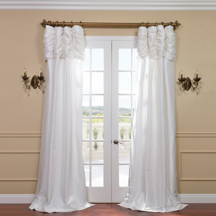 Hallman Ruched Polyester Single Curtain Panel Pertaining To Ruffle Diamond Curtain Panel Pairs (View 36 of 50)