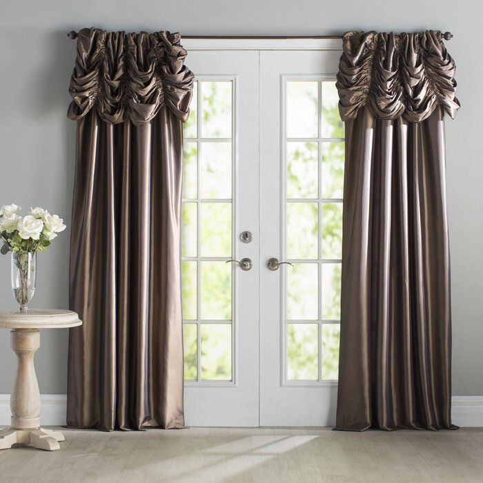 Hallman Ruched Polyester Single Curtain Panel Throughout Solid Faux Silk Taffeta Graphite Single Curtain Panels (View 17 of 50)