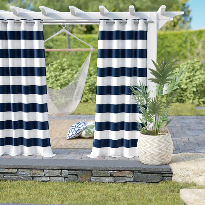 Hamilton Striped Outdoor Grommet Curtain Panels Pertaining To Julia Striped Room Darkening Window Curtain Panel Pairs (#14 of 37)